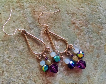 Crystal chandelier earrings, silver purple crystal, white opal chandelier earrings