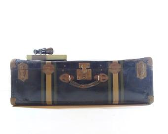 Vintage Metal Suitcase / Striped Suitcase / Vintage Luggage