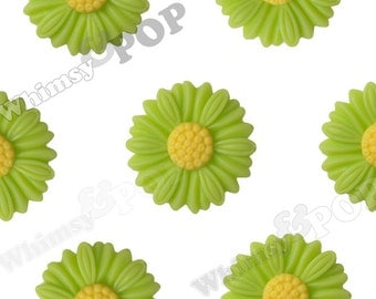 27mm - Large Matte Lime Green Daisy Sunflower Resin Cabochons, Daisy Cabochons, Flower Cabochons, Sunflower Cabochons (R6-041)
