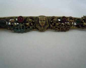 Antique Art Deco Egyptian Revival Pharaoh Bar Pin Brooch with Colored Stones Filigree Designs