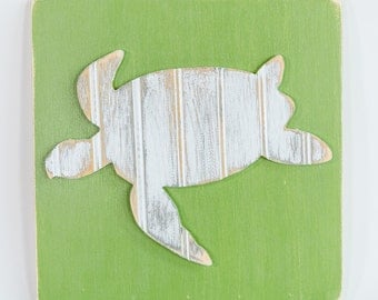 Sea Turtle, Wooden Wall Art, Distressed Antique White Bead Board, Coastal