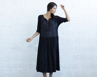 Summer SALE Embroidered Lace Up Dress, Black.