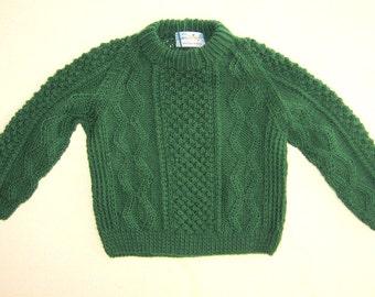 Beautiful Irish Fisherman Sweater in Green Acrylic Size 2