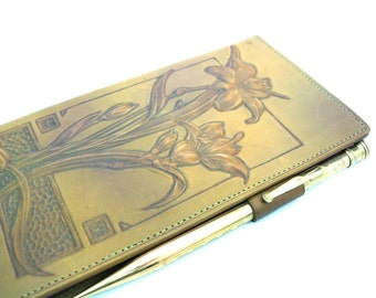 Leather Notebook. Hand Tooled Art Nouveau Billfold. Ingersoll Rolled Gold Mechanical Pencil. Orig Box, Paper. C. 1920s Vintage Advertising