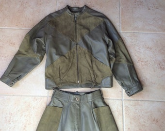 Vera Pelle Vintage Gray,Olive Green Leather Jacket and Pants 80s
