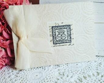 Ivory Wedding Guest Book, Handmade Album, Wedding Book, Fabric Guest Book, Vintage Album, Royal Wedding Book
