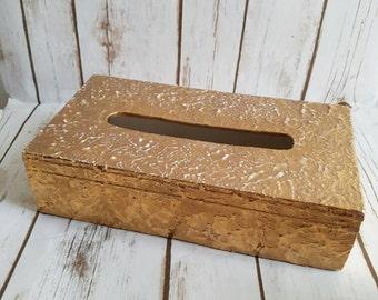 Ceramic Gold Tissue Box, Tissue Cover, Vintage Tissue Holder, Victorian Holder, Rose Gold Tissue Holder
