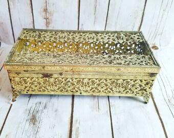 Gold Antique Tissue Holder, Victorian Tissue Holder, Golden Tissue Box, Antique Tissue Holder