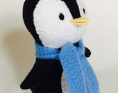 Black Penguin with scarf, Stuffed Animal Plush Toy, Ecofriendly