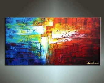 On SALE 20% Off use coupon, Abstract Painting,  HUGE Original DEEP Artist Canvas  Textured Palette Knife Painting,   Ready to Hang