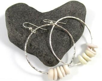 Sterling Silver Hammered Hoop Earrings, Hawaiian Puka Shell Hoops, Handmade Maui, Hawaii Beach Jewelry,  Gift Idea, Boho Fashion