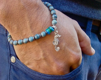Men's Sea Lover Bracelet - Semi precious Ocean Blue Howlite, Shell Rondelles in Cobalt and Green, Gunmetal Spacers, Bali Seahorse Charm -