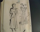 1940 Fashion Service Mail Order 2514 Size 22 Misses Dress Sewing Pattern Supply Ladies Frock Two Asymmetrical Front Armhole Ruffles ff