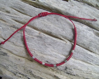 Waxed Cord Adjustable Silver Beaded Bracelet (1)