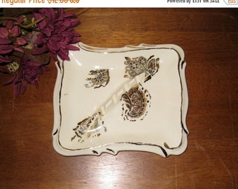 Art Deco Cream Colored Ashtray With Floral, Paisley & Fans Design / Ceramic Smoker's Gift / Gold Trim