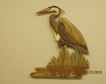 Great Blue Heron V,  Intarsia carved cabin decor, a mens den, waterfowl enthusiast, wildlife,birthday present,