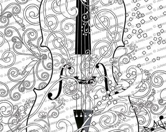 Printable Coloring Poster, Adult Coloring Page, FREE Violin Art Coloring Poster, Line Art Instant Download by Juleez