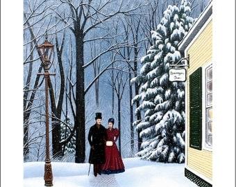 landscape Victorian couple The Dowager Inn 8x10 giclee art print winter snow signed Karen Romine free shipping