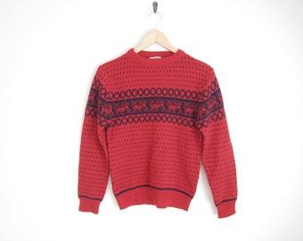 Vintage 80s Sweater. Red Knit Sweater. Nordic Fair Isle Sweater. Reindeer Christmas Sweater. Unisex. Mens Vintage