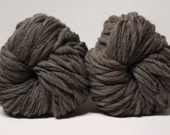 Thick and Thin Yarn Handspun Charcoal Grey Shetland Wool Slub  tts(tm) Half-Pounder Super Bulky