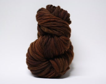 Thick Thin Merino Yarn Hand Spun Bulky Wool Slub  Hand Dyed tts(tm) Brown 000x