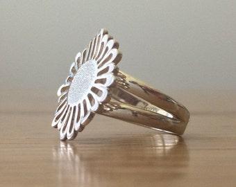 HUGESALE Sterling Silver Flower Ring - Handmade Silver Flower Ring