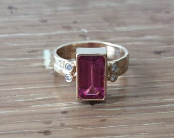 SALE Pink Tourmaline Ring-Rectangle Ring-Large Gemstone Ring-Tourmaline Jewelry-Handcrafted Jewelry-Artisan Ring-BSKDesigns-Gemstone Jewelry