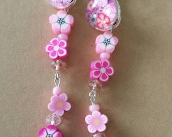 Sale Was 10 now 9uk Silvertone Leverback Small Faux Milli Fiori Pink Dangel Flower earrings.