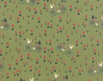 Mon Ami Bicyclette in Vert, Bicycle in Green, BasicGrey, 100% Cotton, Moda Fabrics, 30413 15