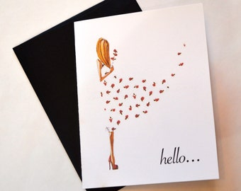 Note Cards Set of 10, Blank Note Cards, Note Cards Hello, Stationery Hello, 10 Cards & 10 Envelopes,  A2 Note Cards