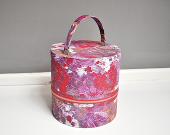 Vintage Mod Hatbox - Purple and Pink Storage