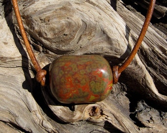 Orbicular Poppy Jasper Bead and Leather Necklace