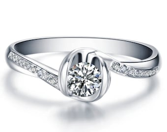 Round Cut Diamond Engagement Ring 14k White Gold Yellow Gold Rose Gold Art Deco Diamond Ring