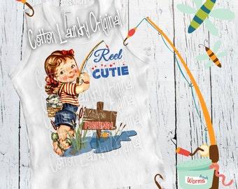 Reel Cutie  tank tee shirt vintage inspired girls top   fishing reel cutie tee shirt