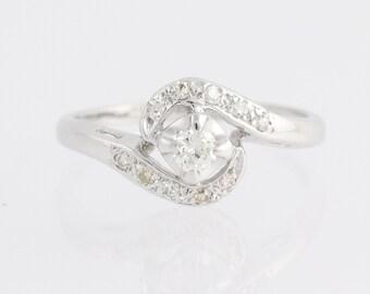 Vintage Diamond Bypass Ring - 14k White Gold .24ctw N1572