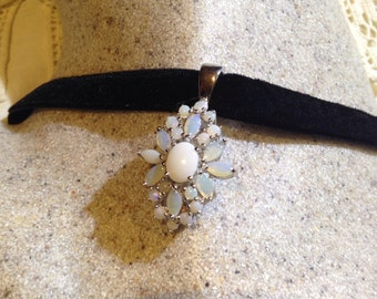 Vintage Genuine White Opal 925 Sterling Silver Pendant Necklace