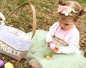 Personalized Easter Basket Vintage Eyelet Lace - Girl's Easter Basket