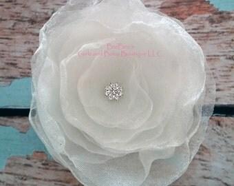 Organza White or Ivory Flower Hair Accessory, Bride Head Piece, Flower Girl Hair Accessory, wedding, photo prop