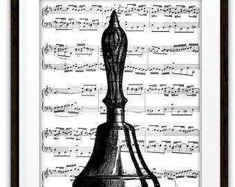 Vintage Hand Bell Illustration Music Book Page Art Print, Music Wall Art Print, Mixed Media, Home Decor, Gift Ideas, Handbell Player
