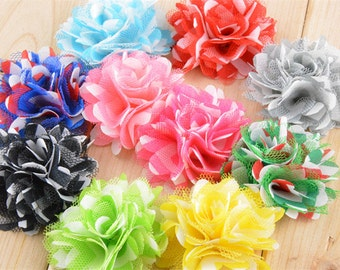 Cusotm Order Set of 50 fabric flowers, put 45mm white ribbon lined alligator clips on the flower