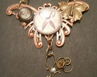 SEWING BUTTON Necklace Scizzors Butterfly Mixed Metal Copper  Statement Collecible Not Sold???