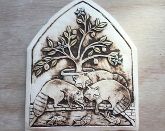 Raccoons in the garden arch shaped porcelain tile in brown and orange for wall hanging or installation