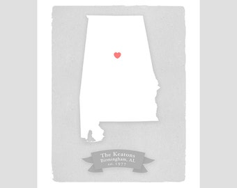 ALABAMA personalized print - Family history - Custom text - Wedding gift Bridal shower Housewarming gift Larger size for wedding guest book