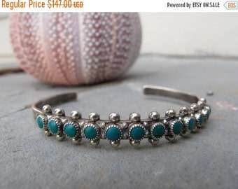 SALE 1950s bracelet SILVER & TURQUOISE row cuff snake eyes real vintage patina southwestern - stamped sterling