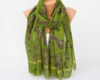 CLEARANCE SALE -Green zebra regular scarf scarf ,Long scarf  with animal pattern