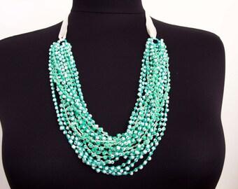 SALE -beadwork necklace ,crochet necklace, crochet oya necklace with beads