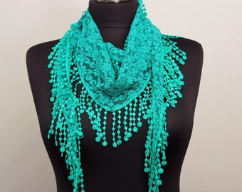 Fringed lace scarf in carebean green  ,triangle lace scarf , guipure scarf, summer scarf