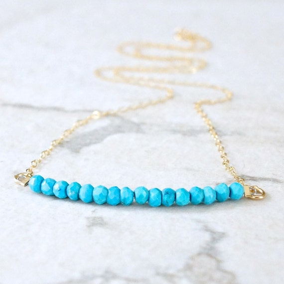 14k solid gold : Turquoise beaded necklace - fine jewelry