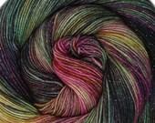 glitter sock yarn ISLA de MUERTA sw merino nylon stellina fingering weight 3.5oz 435 yards