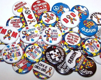 """Autism Awareness Support Buttons Set of 10 Buttons 1"""" or 1.5"""" or 2.25"""" Pin Back Buttons or 1"""" Magnets Autistic Puzzle Ribbons"""